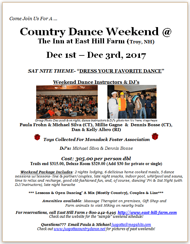 East Hill Farm Dance Weekend - December 1 - 3, 2017