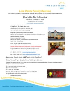 Line Dance Family Reunion Charlotte North Carolina February 8th – February 11th 2018