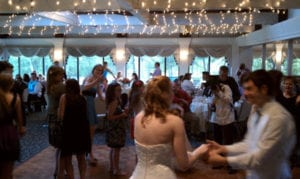 steps and sounds - wedding crowd dances with bride and groom