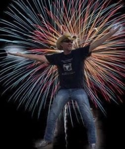 dance with cowboy fireworks